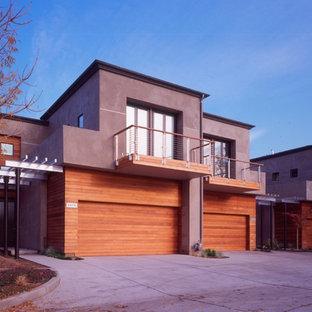 サンフランシスコのコンテンポラリースタイルのおしゃれな家の外観 (木材サイディング、デュープレックス) の写真