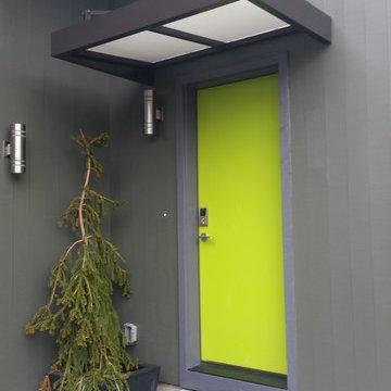 Contemporary flat metal door awning