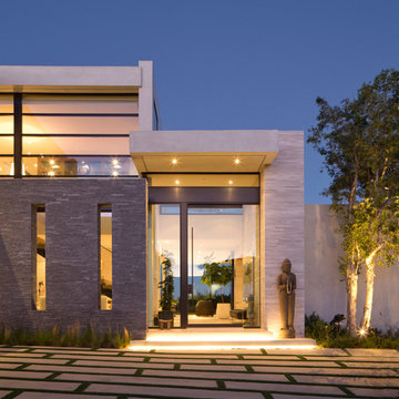 Contemporary Glass and Stone Entry