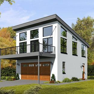 Источник вдохновения для домашнего уюта: двухэтажный, белый частный загородный дом в современном стиле с облицовкой из бетона и односкатной крышей