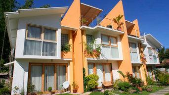 Contemporary tropical apartment exterior