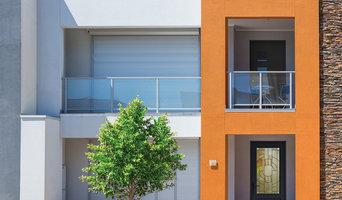Contemporary ZAHA Glass Single Door Cool Neutral Sherwin-Williams