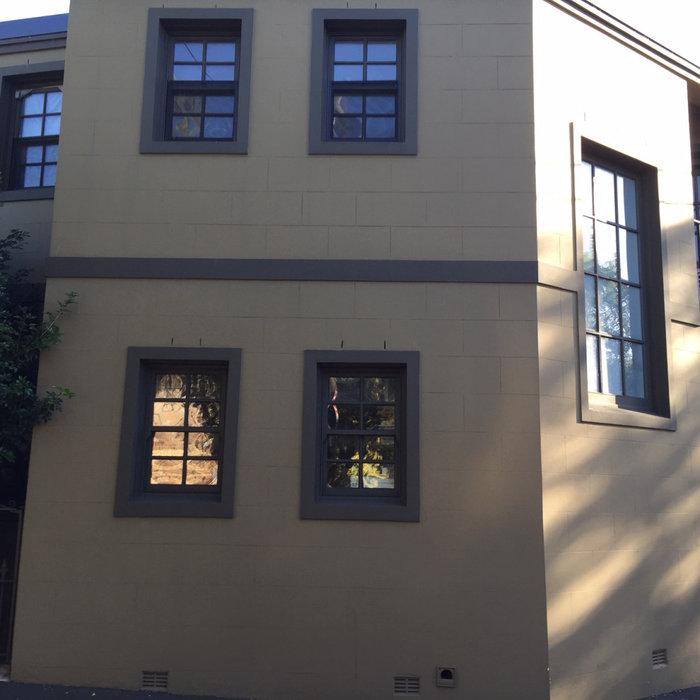 Corner terrace exterior, Porter's Stone fine paint finish, Newtown