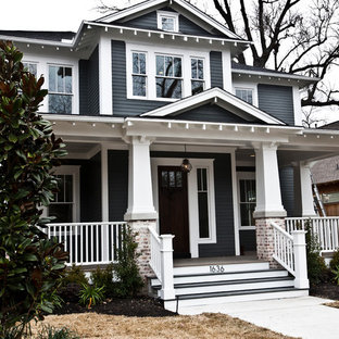 Craftsman two-story wood exterior home idea in Houston