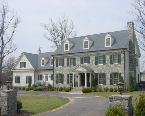 Colonial revival stone houzz for Diy stone house revival