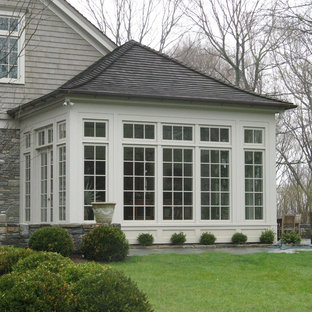 Inspiration For A Large Timeless Gray Two Story Mixed Siding Gable Roof Remodel In New