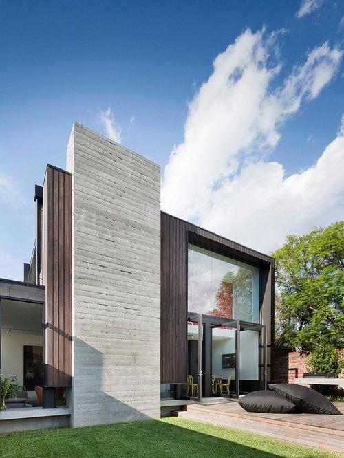 Contemporary Wood Exterior Home Idea In Melbourne