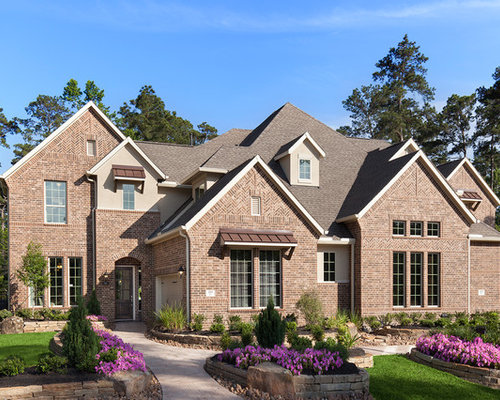 Elegant Brown Two Story Brick Exterior Home Photo In Houston With A Gable  Roof And Part 96