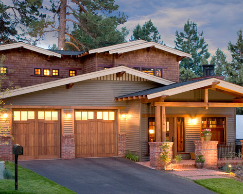 elegant brick exterior home photo in portland - Craftsman Bungalow Home Exterior