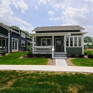 Example of a small arts and crafts green one-story exterior home design in Indianapolis