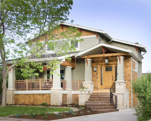Craftsman style front porch houzz for Craftsman style front porch