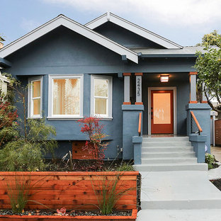 Arts And Crafts Blue One Story Stucco Gable Roof Photo In San Francisco