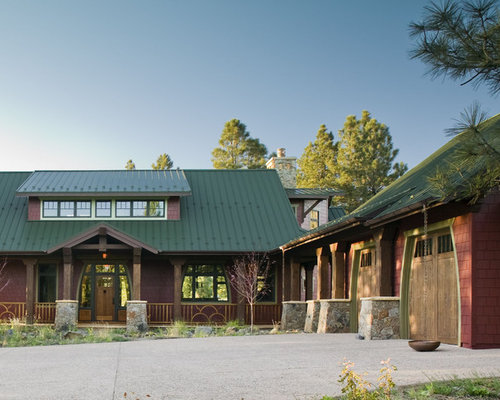 Green metal roof houzz for Metal roof craftsman home