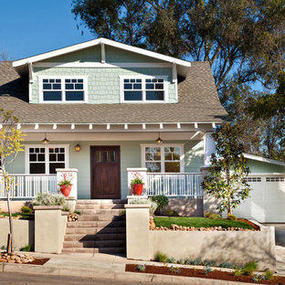Inspiration for a small craftsman green two-story wood exterior home remodel in San Diego