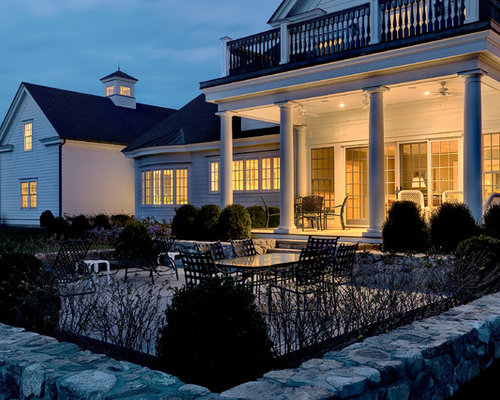 Traditional two-story exterior home idea in New York - Recessed Porch Lighting Houzz
