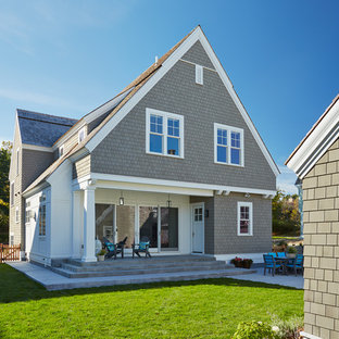 Traditional gray two-story wood gable roof idea in Minneapolis