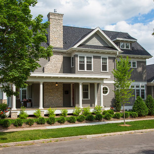 Traditional gray two-story concrete fiberboard exterior home idea in Minneapolis
