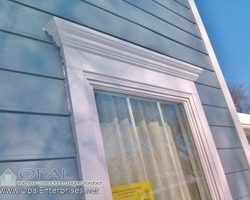 Crown Moldings In Cobble Stone By James Hardie Boothbay Blue Siding By Hardie