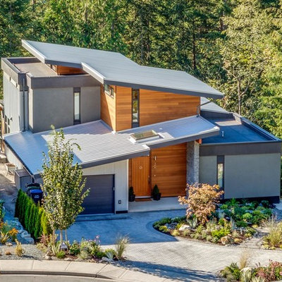 Large modern gray two-story mixed siding flat roof idea in Other