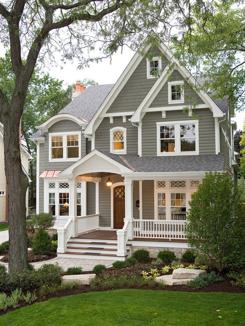 Attractive Home Exterior Ideas Part - 9: Example Of A Classic Gray Two-story Wood Gable Roof Design In Chicago