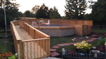 Custom built deck. 50ft walkway ramp, 5ft wrap around deck, step down 14x14 deck