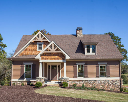 inspiration for a craftsman brown two story mixed siding exterior home remodel in atlanta with