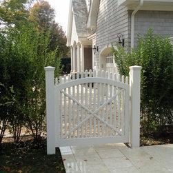 Custom Built White Picket Gate - Southampton, NY - Sunrise Custom Fence Inc.