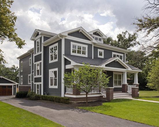Red brick and grey siding houzz - Grey house exterior with white trim ...