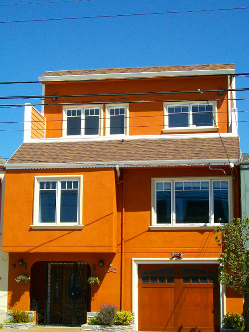 Burnt orange exterior home design ideas remodels photos - Orange exterior paint decor ...