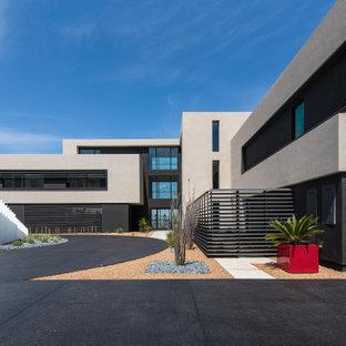 Свежая идея для дизайна: огромный, четырехэтажный частный загородный дом в современном стиле с плоской крышей - отличное фото интерьера