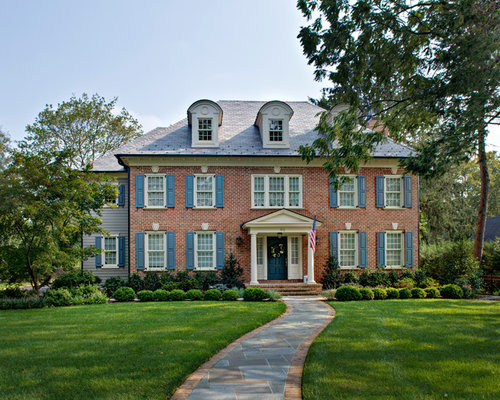 Classic Brick Blue Shutters Colonial Houzz