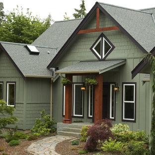 Diseño de fachada verde rústica