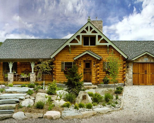 Log home exterior houzz for Log and stone homes