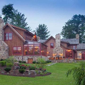 Custom Log Home with Stone