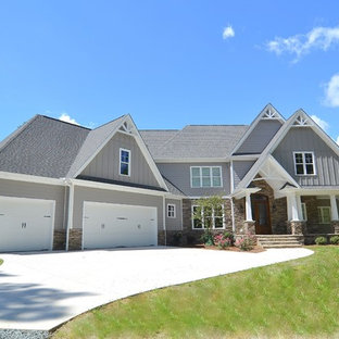 Large transitional gray two-story wood exterior home photo in Raleigh