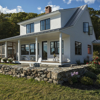 Farmhouse two-story wood exterior home photo in Portland Maine