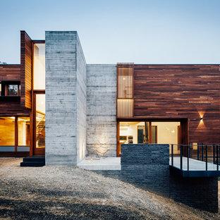 Ispirazione per la facciata di una casa grande contemporanea a due piani con rivestimenti misti e tetto piano