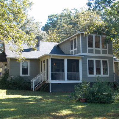 Elegant wood exterior home photo in Atlanta