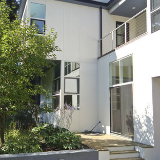 Example of a trendy two-story exterior home design in Boston