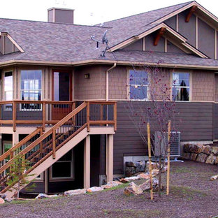 Attirant Example Of A Large Arts And Crafts Brown Two Story Mixed Siding Exterior  Home Design