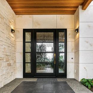 Großes, Zweistöckiges, Weißes Modernes Einfamilienhaus mit Steinfassade und Flachdach in Denver