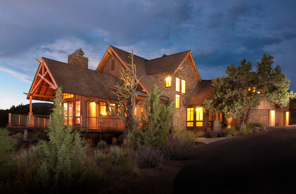 Rustic Exterior by Homeland Design, llc