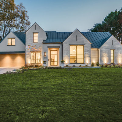 Mid-sized transitional white two-story brick gable roof idea in Dallas