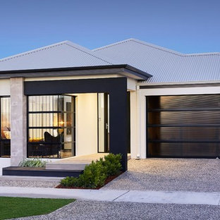 This is an example of a contemporary one-storey white exterior in Perth with a hip roof.