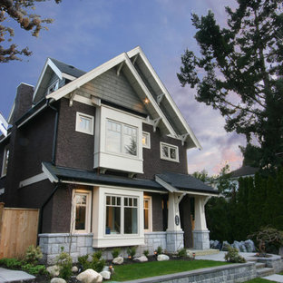Inspiration for a mid-sized craftsman gray two-story mixed siding exterior home remodel in Vancouver with a shingle roof