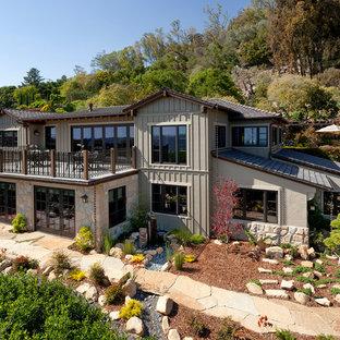 Mid-sized zen gray two-story exterior home idea in Santa Barbara