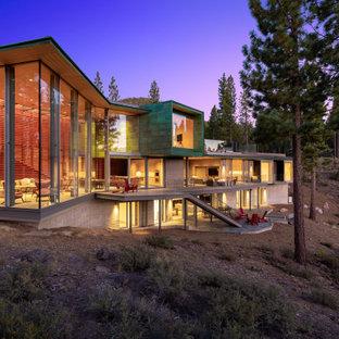 Contemporary three-story exterior home idea in Los Angeles