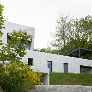 Inspiration for a modern two-story concrete flat roof remodel in Other