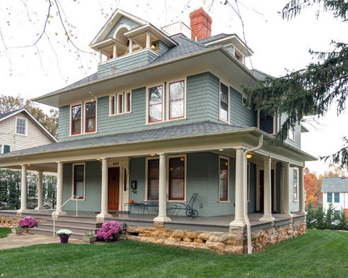 Inspiration For A Timeless Green Three Story Exterior Home Remodel In Dc Metro