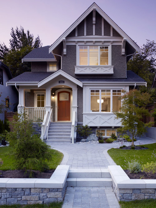 Mid Sized Craftsman Exterior Home Design Ideas Remodels